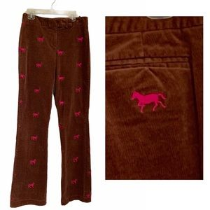 Lilly Pulitzer Embroidered Horses Corduroy Pants